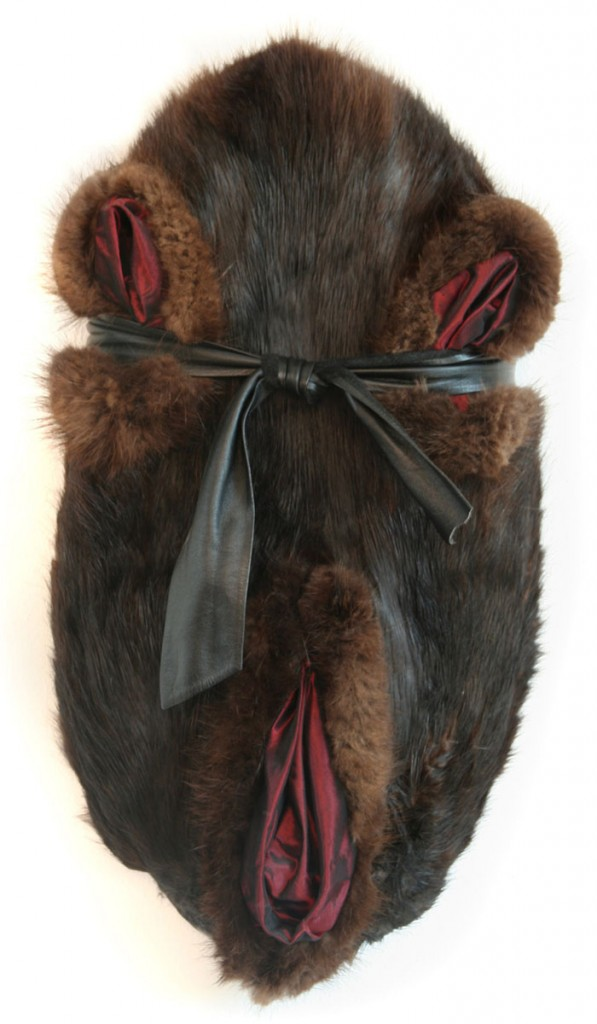 Abdication (2005), size: 50 x 27 x 10cm. Wood, furskin, leather, changeant.