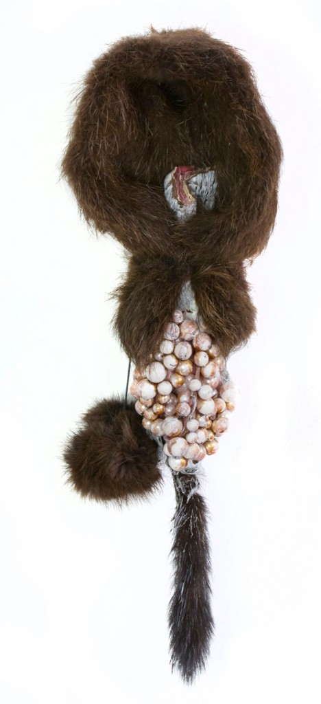 Bisexual 2 (2012), size: 40 x 14 x 15cm. Mink, beads.