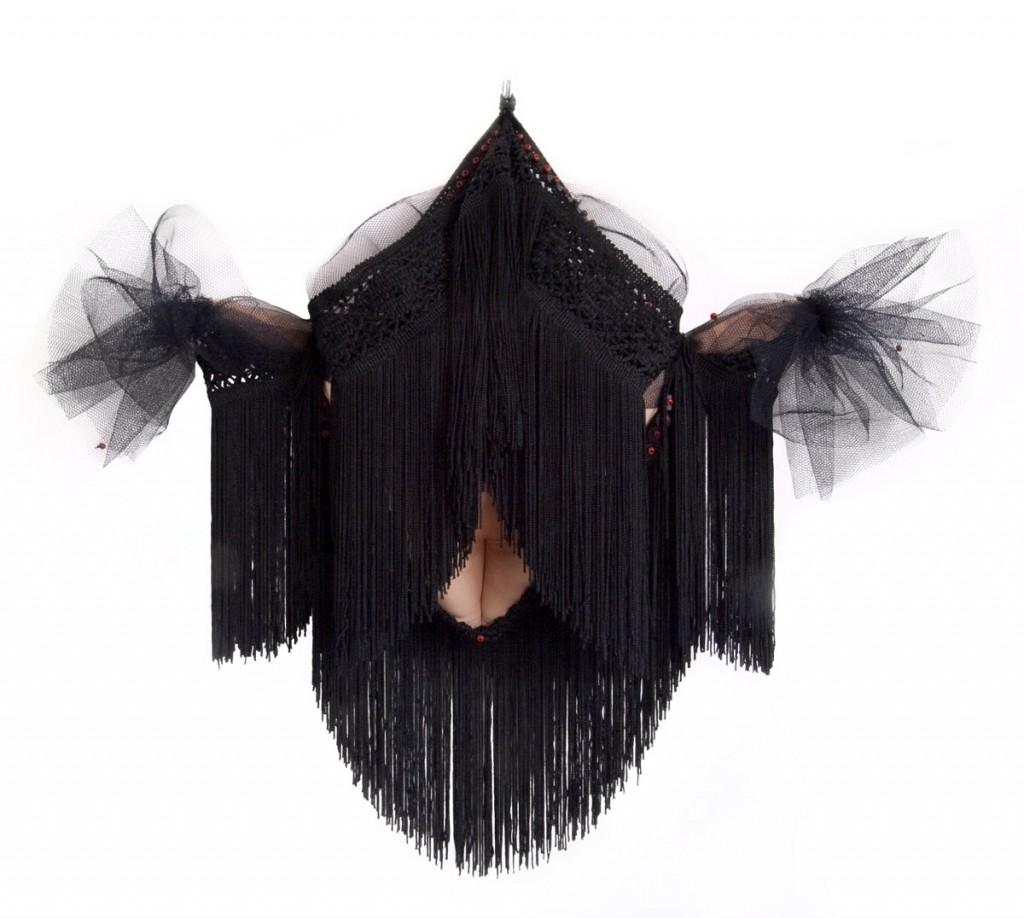 Burka (2009), size: 55 x 58 x 10cm. Textile, beads.