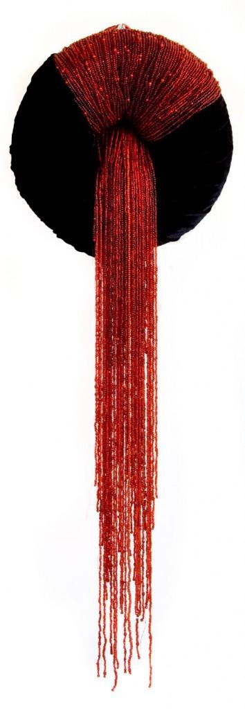 Slut (2008), size: 70 x 25 x 6cm. Velvet, sisal, beads.
