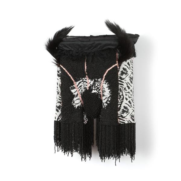 Cet obscur objet du désir (2015), 25 x 29 x 18cm. Beads, metal, fur, shorts.