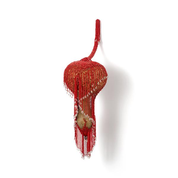 Concubine (2015), 60 x 20 x 20cm. Beads, metal, pantyhose, calabash.