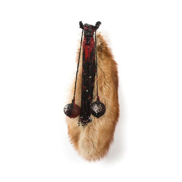 Taurus (2015), 65 x 25 x 15cm. Fur, glass, beads.