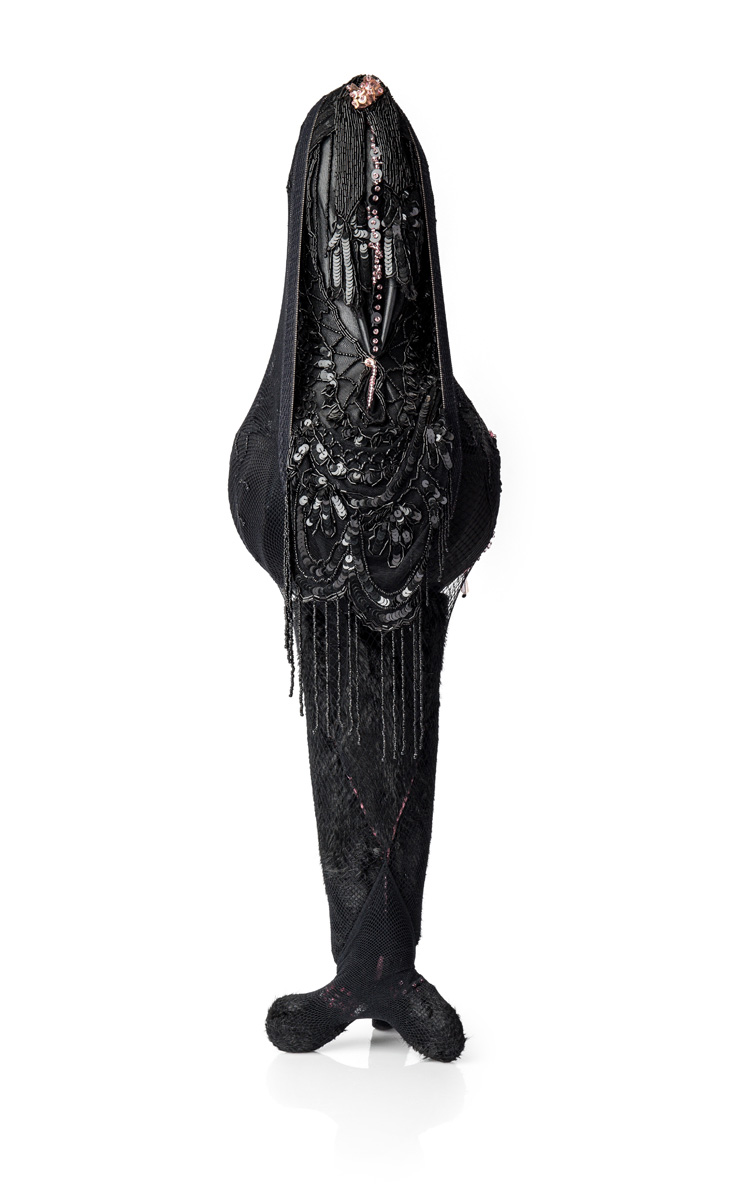 Harem (2017), 85x26x25cm. Fur, beads, lace, sequins, metal.